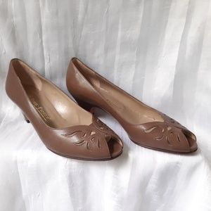 Vintage Evan Piccone Italian Leather Peep Toe Heel